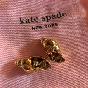 Kate Spade Gold Seashell Clip On Earrings NWOT